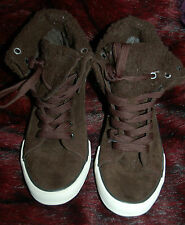 New Unisex Sz 7 Brown Baseball Trainer Boots shoes Fur Lined & turn down Cuffs