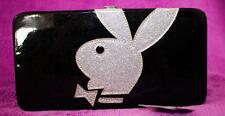 PLAYBOY CLUTCH  black silver glitter bag wallet purse ID organizer bills coins