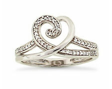 10K White Gold Diamond Ring Diamond Heart Cluster and Twisting Gold Band .15ct