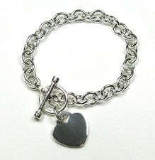 Heart Charm Toggle Link Solid Sterling Silver Bracelet 7""