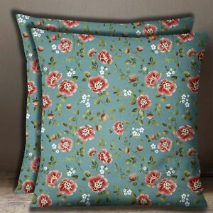 Home Decorative Floral Square Cotton Poplin Teal Green Cushion Cover 1 Pair