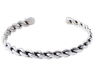 Mens 925 Sterling Silver Open Bangle Bracelet, Silver Twist Bangle for Men