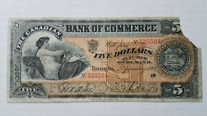 1901 $5 Bank of Commerce - Toronto Canada - Scarce Note As Is - Ships Free in US