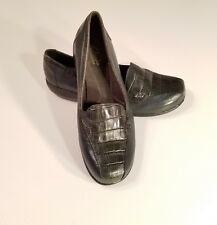 CLARKS BENDABLES Teal Green Black Patent Reptile Women's Loafers Shoes 7.5W