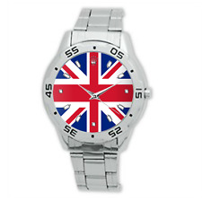 UK United Kingdom Union Jack Flag Watch Metal Bracelet Strap Men's Dress Watch