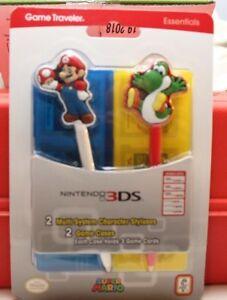 NINTENDO 3DS SUPER MARIO GAME TRAVELER ESSENTIALS 2 GAME CASES 2 STYLUSES YOSHI