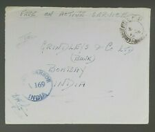 1942 Bombay India Free Postage Active Service Field Post Censorship WWII Cover