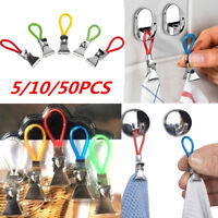 5/10/50pcs Tea Towel Hanging Clips Clip on Hooks Loops Hand Towel Hangers