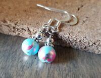 Splash beaded earrings Blue speckled Pink Sparkle Silver Handmade in USA