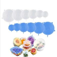 Reusable Silicone Stretch Lids Wrap Bowl Seal Cover Kitchen Keep Food Fresh 6pcs