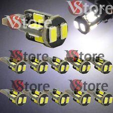 10 Lampade LED T10 Bianco 10-SMD 5630 Can-Bus Posizione Luce Targa 360° Luminosi