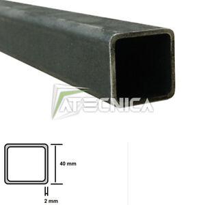 Tube en fer profil réctangulaire 40 x 40 x 2 mm brut bords arrondis 1-2-3 m