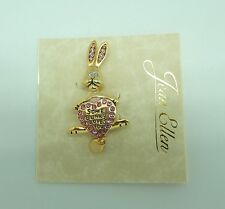 Pin/Broach-bunny rabbit-gold toned -pink sparkly stones-some bunny loves you