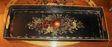 Antique Tole Tray Oblong Reticulated edging Fruits, Leaves and Flowers Beautiful