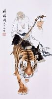 ORIENTAL ASIAN FINE ART CHINESE FIGURE WATERCOLOR PAINTING-Dharma&Tiger King