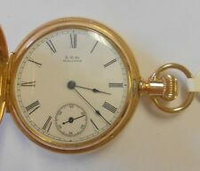 Case Pocket Watch #4225813 Seaside 11J Old Waltham 14K Solid Yellow Gold Hunting
