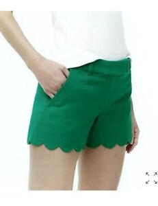"J Crew Shorts 3.5"" Linen Cotton Scalloped Hem Size 6 Kelly watermelon Green"