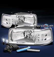 1992-1996 FORD BRONCO F150 F250 F350 LED CRYSTAL HEAD LIGHTs+BLUE DRL+HID 6K KIT