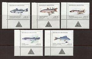 ARGENTINA 1989, FISH, Scott B134-B141, MNH