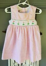Girls Toddler 2T Smocked Pink White Gingham Sleeveless Dress Flowers Copperkey