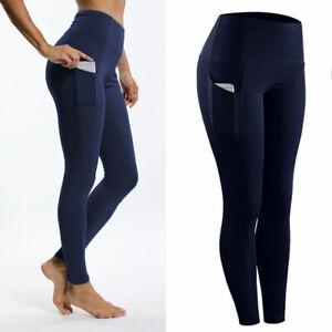 FITTOO Women High Waist Leggings Yoga Pants Pockets Linen Workout Gym Scrunch US