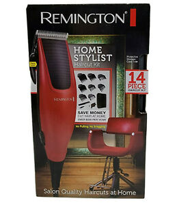 Remington Home Stylist Haircut Kit Mens Hair Care Clippers 14 Piece Red