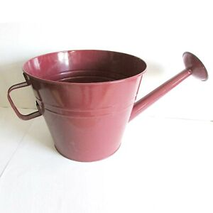 "Large Burgundy 19"" Watering Can Planter Pot Metal w Holes in Base FREE SH"
