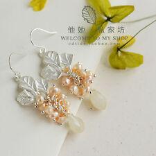 Boucles d'Oreilles Perles de Culture Rose Feuille Goutte Argenté Grape Original