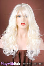 Thick Long Loose Waved Wig White Platinum Blonde - SUPER SALE!
