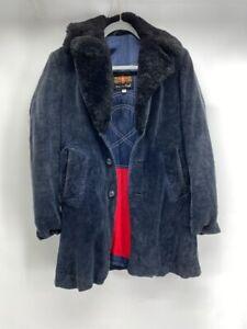 Cortefiel Mens Corduroy Coat Blue Button Pockets Back Slit Faux Fur Collar 34