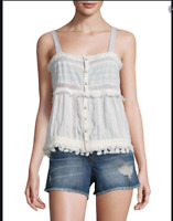 Love Sam Women's Blouse Sleeveless Button Down Lace Tank Top Cotton Cream $363
