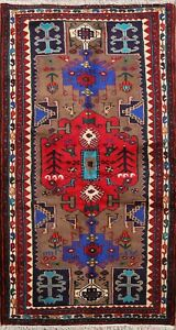 Geometric Brown Traditional Area Rug Wool Hand-knotted Tribal Carpet 3x6 Nomadic