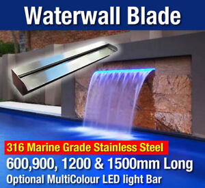 Water Feature Stainless Steel Waterfall Blade Fountain Outdoor Pool Spillway