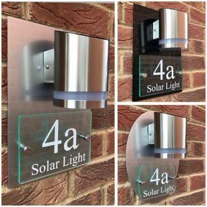MODERN SOLAR POWERED LED HOUSE SIGN PLAQUE GLASS ACRYLIC SOLAR HOUSE SIGN