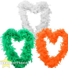 IRISH TRI-COLOUR FEATHER BOA SET OF 3 FLAG ST PATRICKS'S DAY COSTUME ACCESSORY