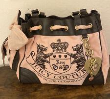 Juicy Couture Scottie Velour Day Dreamer Hobo Handbag Satchel Purse Embroidery