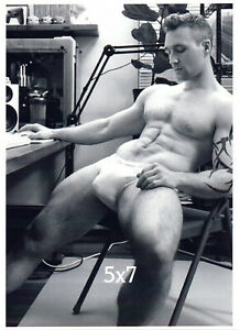 Straight Male Working from Home N Tighty Whities Underwear Gay B&W 5x7 Photo
