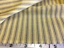 YELLOW WITH GRAY STRIPED TICKING PRINT--BY THE YARD