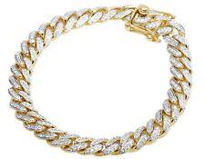 "Men's Solid 10k Yellow Gold Genuine Diamond 9mm Miami Cuban Bracelet 3 1/2 Ct 8"""