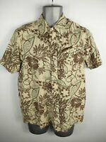 MENS ANIMAL BEIGE/BROWN FLORAL BUTTON UP SHORT SLEEVED CASUAL SHIRT UK M MEDIUM