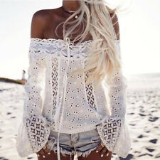 Women Bandeau Off Shoulder Hollow Lace Flared Long Sleeve Boho Casual Blouse Top