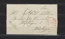 1857 Netherlands: stampless cover Assen to Harlingen w/Norg straight-line cancel