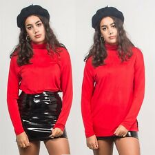 WOMENS 70'S BRIGHT RED LONG SLEEVE VINTAGE POLO NECK TOP PLAIN FITTED SHEER 16