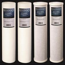 "BLUONICS Big Blue Carbon Block & Sediment Water Filter 4pcs 4.5"" x 20"" Cartridge"
