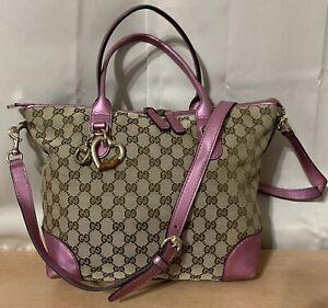 Gucci Brown/Beige GG Monogram Canvas Pink Leather Heart Large Tote Shoulder Bag