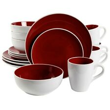 NEW Gibson Chicstone 16 Piece Dinnerware Set Red 92580.16