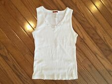 Mili D Jeans V-neck White shirt top Tank Sleeveless Ribbed Lace On Trim Size M