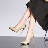 Womens Sequins Slim High Heels Platform Slip On Party Pointed Toe Sexy Shoes