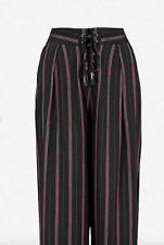 Paige. Capucine striped high-rise crepe wide-leg trousers. Black. Size UK 6.