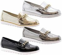 Ladies Womens Flat Platform Casual Slip On Chain Loafers Office Pumps Shoes Size
